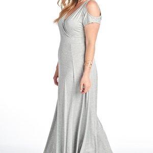 Dresses & Skirts - Cold Shoulder Full Length Dress - Grey